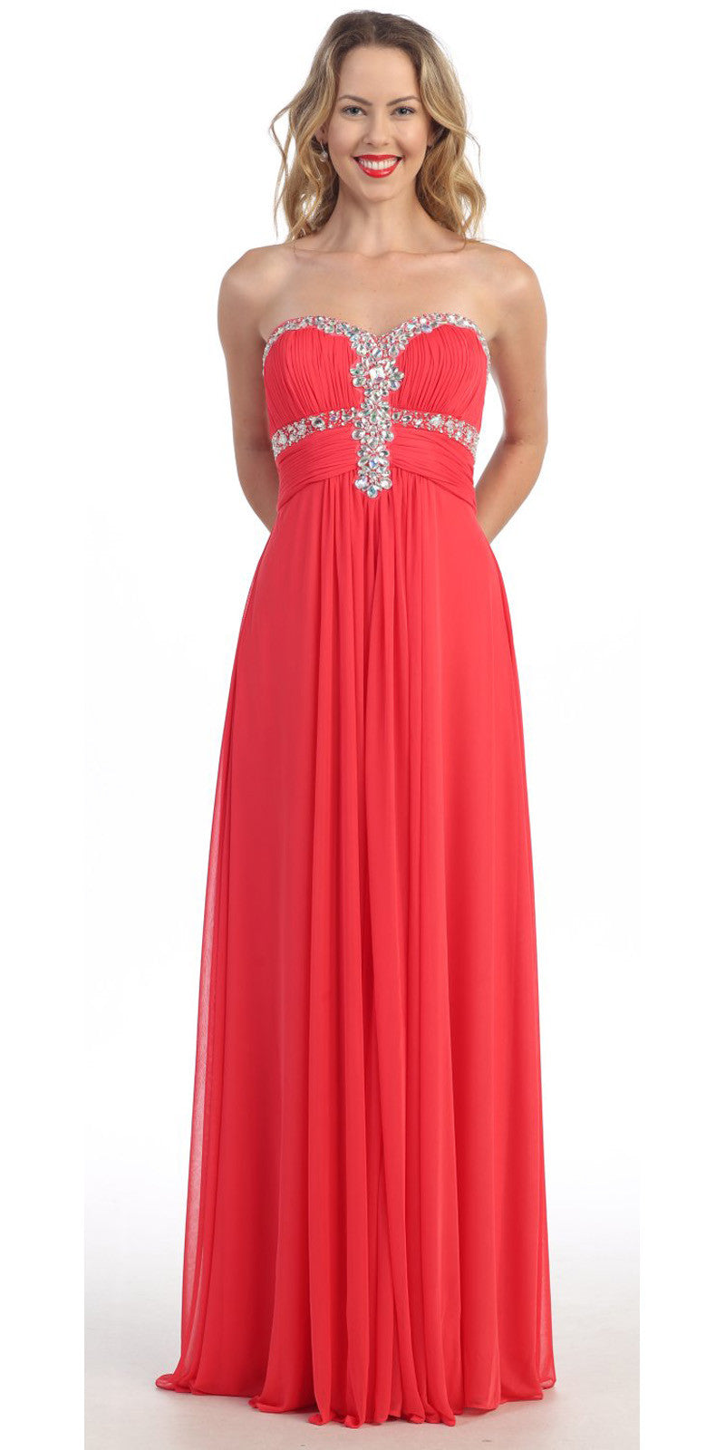 Coral Formal Gown Chiffon Long Empire Waist Rhinestone Bodice