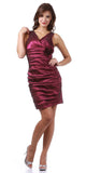 Burgundy Cocktail Dress Short Tight Fit Wide Straps V Neck Ruched