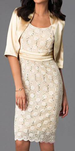 Knee Length Gold Lace Dress Semi Formal Bolero Jacket