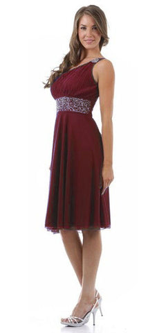 Burgundy Knee Length Cruise Dress chiffon One Shoulder W/Jacket