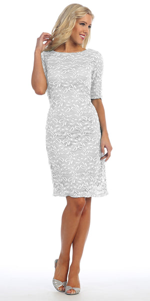 Knee Length Ivory Lace Dress Mid Length Lace Sleeves Low V Back