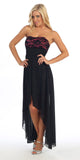 Black/Fuchsia High Low Semi Formal Dress Chiffon/Lace Strapless Neck