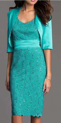 Knee Length Jade Lace Dress Semi Formal Bolero Jacket