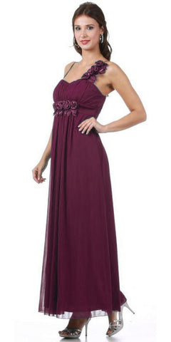 Wedding Guest Flowy Chiffon Plum Dress One Shoulder Flower Empire