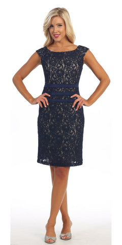 Knee Length Navy Blue Nude Lace Dress Cap Sleeves Bateau Neckline