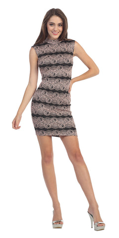 Sexy Short Sheath Cocktail Dress Black Blush Metallic ITY
