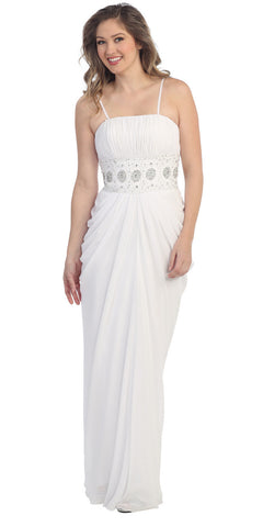 White Chiffon Long Dress Floor Length Maxi Curvy Empire Gathered