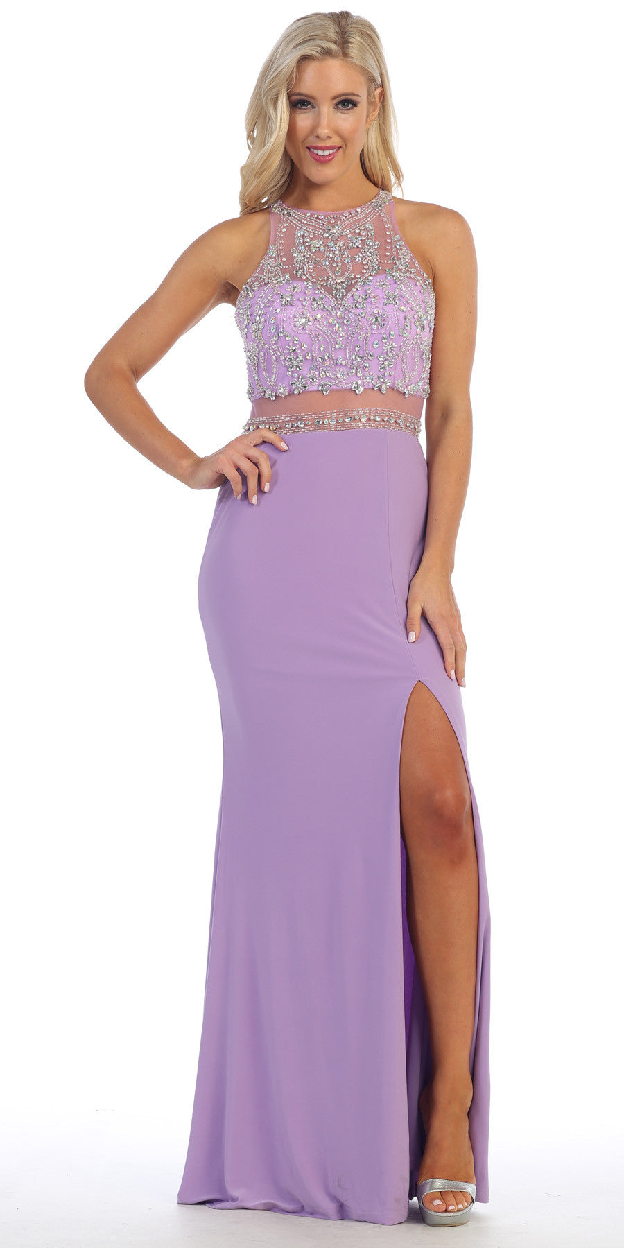 Sexy Slit Long Prom Gown Lilac Sheer Waist Rhinestone Top