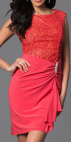 Coral Knee Length Sheath Dress Cap Sleeve Sequin Top