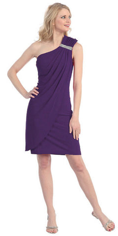 Knee Length Side Draped Plum Short Cocktail Dress