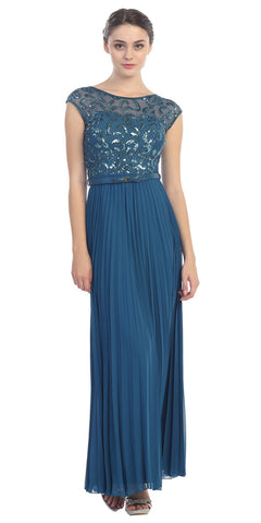 Cap Sleeve Long Pleated Chiffon Gown Teal Sequin Top