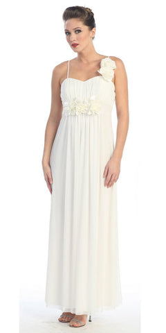 Ivory Dress Wedding Party Flower Strap Waist White Chiffon Gown