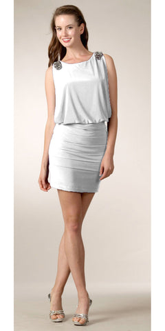 White Goddess Greek Dress Short Low Waisted Wide Straps Round Neck