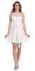 Knee Length White Lace Dress Short Bridesmaid Sleeveless Bow Waist