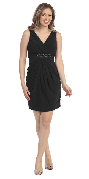 Sexy V Neckline Black Cocktail Dress Wide Straps Sleeveless Empire