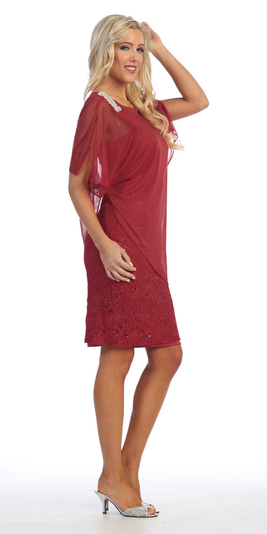 Sheer Batwing Sleeved Lace Burgundy Sheath Cocktail Dress
