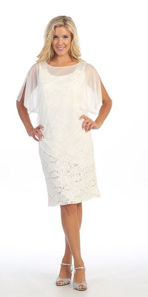 Sheer Batwing Sleeved Lace Off White Sheath Cocktail Dress