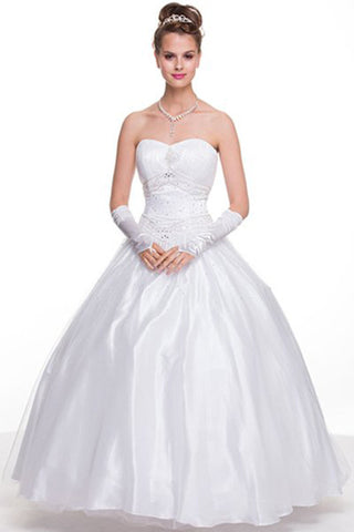 White Princess Ball Gown Sweetheart Bead Ruched Skirt Lace Up Back