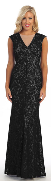 Long Sheath Black/Nude Semi Formal Lace Dress Cap Sleeves