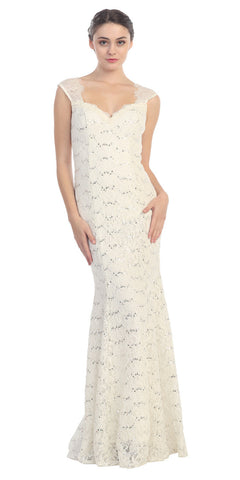 Lace Sheath Mermaid Wedding Gown Ivory Cap Sleeves
