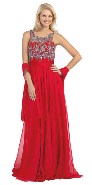 Sheer Yoke Jewel Neckline Long Red A Line Formal Gown