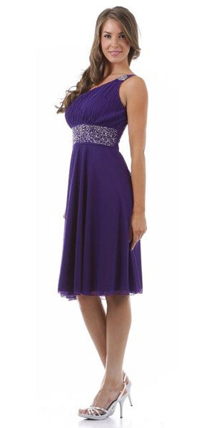 Lavender Knee Length Cocktail Dress chiffon One Shoulder Cruise Dress