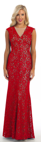 Long Sheath Red/Nude Semi Formal Lace Dress Cap Sleeves