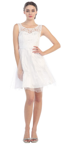 Short A Line Lace/Tulle Dress White Ribbon Waist