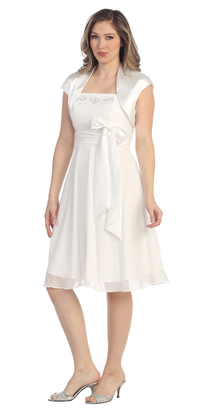Short A Line White Chiffon Dress Includes Bolero Jacket Knee Length