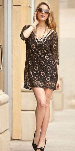 Short Black/Gold Lace Dress Mid Length Sleeve Front Pocket V Neck