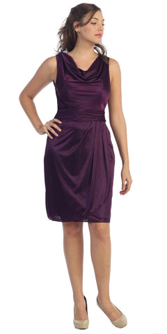 Cowl Neck Sleeveless Short Eggplant Cocktail Dress