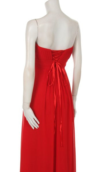 Strapless Ruched Bodice Red Long A Line Semi Formal Dress