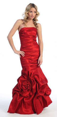 Elegant Dress Mermaid Floor Length Formal Red Gown Strapless Ruched