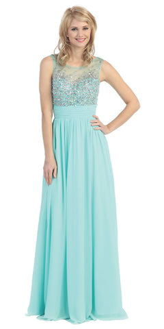 Floor Length Chiffon Mint Gown A Line Sleeveless Beaded Top