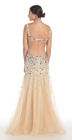Floor Length Evening Gown Champagne Low Back Sleeveless