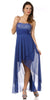 High Low Lace Royal Blue Semi Formal Dress Illusion Neck Sleeveless