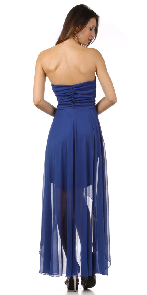 Homecoming High Low Chiffon Dress Royal Blue Strapless Jewels Beads
