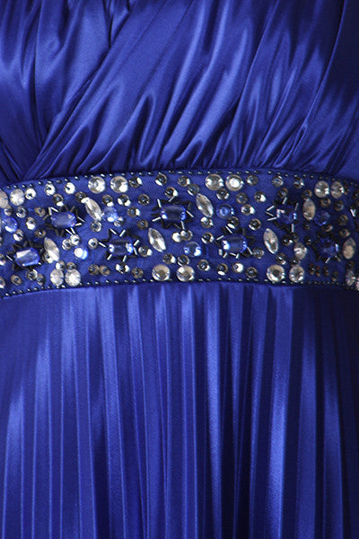Greek One Shoulder Dress Royal Blue Pleated Empire Rhinestones