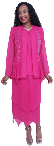 Hosanna 3715 - 3 Piece Dress Fuchsia Plus Size Long Sleeve Jacket