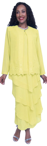 Hosanna 3728 Mother of Bride Dress Plus Size Yellow Ankle Length