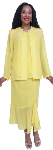 Hosanna 3738 Plus Size Wedding Guest Dress Yellow Tea Length