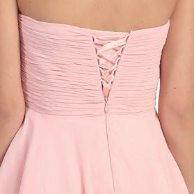 Knee Length Chiffon Bridesmaid Dress Blush Sweetheart Neck Back View