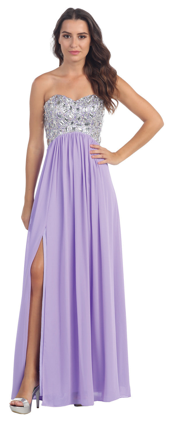 Layered Strapless Laced Bodice Long Lilac Prom Dress
