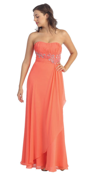 Long Beaded Empire Waist Strapless Coral Prom Dress