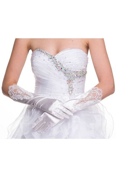 Mid Length Satin White Gloves With Lace Embroidery