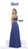 One Strap Steel Prom Gown Chiffon Ruched Top Beaded Waist Back View