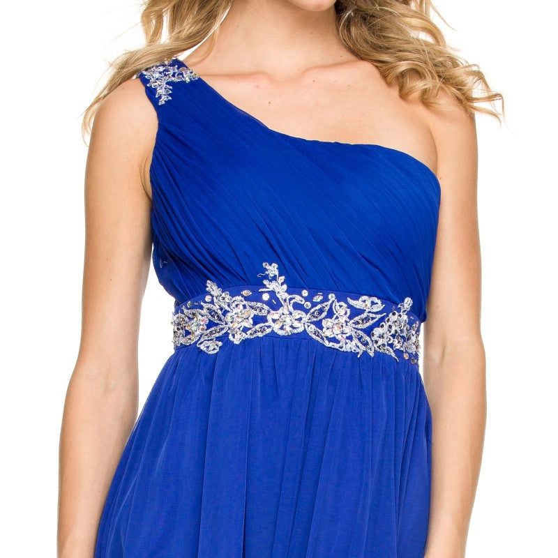 One Strap Royal Blue Prom Gown Chiffon Ruched Top Beaded Waist Zoom