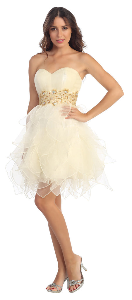 Organza Short Skirt Pleated Bodice Ivory Prom Dress