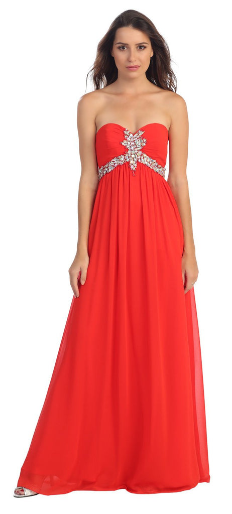 Starbox USA 547 Pleated Strapless Studded Long Red A Line Prom Gown