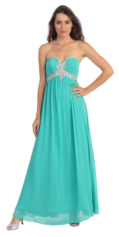 Pleated Strapless Studded Long Jade A Line Prom Gown